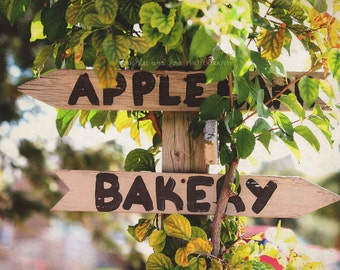 Apple Barn & Bakery Sign Photo, Orchard Photography, Arrow Fall Autumn Rustic Green Brown Warm Tones, Kitchen Dining Home Decor Wall Art