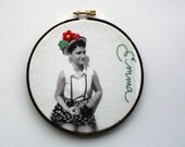 Custom photo embroidery hoop with hand stitched embellishment / photo with embroidery / made to order with your picture