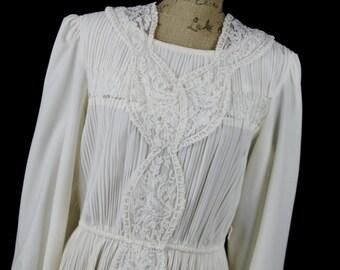 Vintage Lace Wedding Dress Ivory Boston Maid 70's