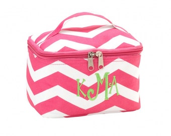 Personalized Pink Chevron Cosmetic Bag  Monogrammed