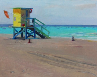 "Beach Decor ""Ocean color"" Oil Painting by B. Kravchenko, FREE SHIPPING"