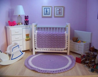 Dollhouse Miniature Hand Crocheted Circular  Lilac & White Area Rug (Made from Bamboo Thread)