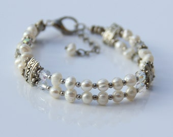 Pearl layered Bracelet  bridesmaids gifts Free US Shipping handmade anni designs