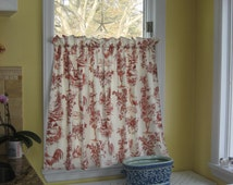 Cafe curtains - Kravet Pierre Deux - French Country Rooster - Window treatment - Red and Ivory - Country