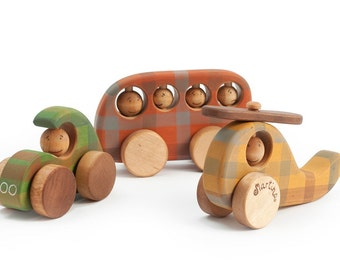 Wooden Toy Car, Wooden Toy Helicopter, Wooden Toy Bus, Personalized Organic Toys for Toddlers