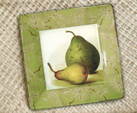 Pears hanging plate kitchen decor botanical print decoupage plate wall hanging  pears art print green pears art