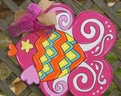 Fish Door Hanger, Pink Fish Door Hanger, Beach Decor, Summer Door Hanger, Whimsical Fish