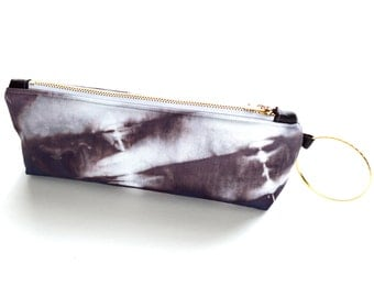Shibori Wristlet Clutch - in Wild Chestnut - a rich, warm brown