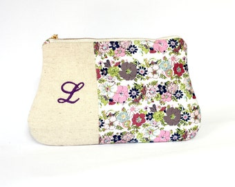 Personalized Clutch Purse, Purple lavender linen clutch, Zippered make up clutch, bridesmaid gift, personalized initial bridesmaid clutch