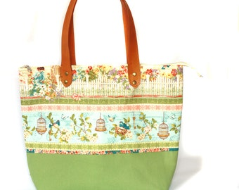 Diaper Bag, Green cotton tote bag and canvas bottom with real leather handles, lots of pocket inside
