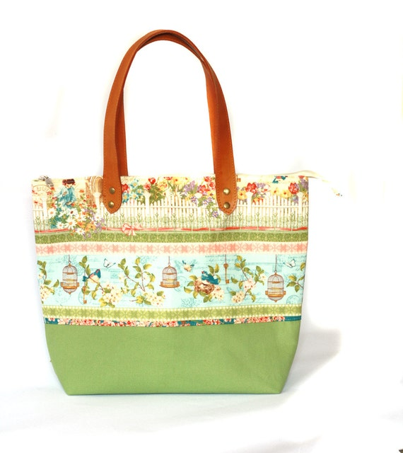 diaper bag green cotton tote bag and canvas bottom with real. Black Bedroom Furniture Sets. Home Design Ideas