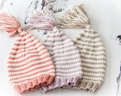 NEWBORN Photo Prop - Hand Knit Baby Stripe Pixie Hat with Tassel -  UK Seller, Ready to Ship - SALE