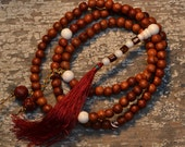 108 mala vintage rosewood beads with conch shell accents