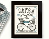 Front Porch Art Laundry Room Sign Vintage Bicycle Art Country Home Decor Washing Machine Home Art Sign Wall Old Porch
