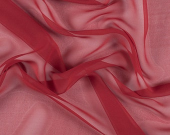 "54"" Wide 100% Silk Chiffon Red By the Yard"