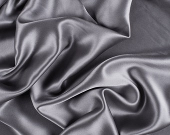 """42"""" Wide Stretch Silk Charmeuse Silver Gray By the Yard"""