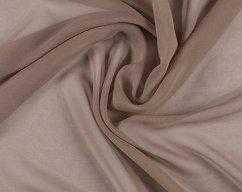 "45"" Wide 100% Silk Chiffon Mocha Brown By the Yard"
