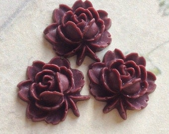 18 x 18 mm Umber Red Resin Flower Cabochons (.am)
