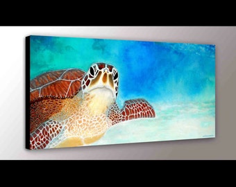 Sea Turtle Decor | Sea Turtle Art | Ocean Art | Marine Life | Canvas Print | Turtle Art | Green Sea Turtle | Nursery Art | Turtle Gift