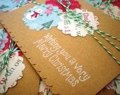 Kraft Christmas Card-Set of 6 Wishing you a Merry Christmas