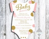 Set of 25 Onesie Die Cut Baby Girl Shower Invitations - Pink & Gold Glitter