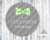 "Envelope Seals or Favor Stickers - Set of 60 - Little Mister - 2"" round sticker"