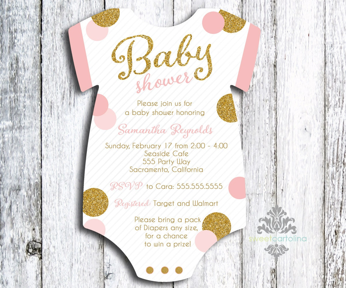 onesie die cut baby girl shower invitations by sweetcartolina