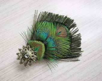 Peacock Feather Hair Clip with Antiqued Gold Accent Piece and Rhinestone