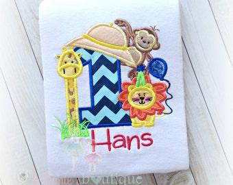Birthday Safari Applique Shirt- Monkey, Giraffe, and Lion with safari hat, Birthday animal shirt