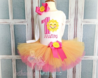 Sunshine Birthday Tutu Set- 1st Birthday Outfit- Custom embroidery- Pink and yellow