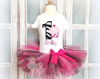 Zebra Cupcake Birthday tutu set- Animal Print- pink and black tutu