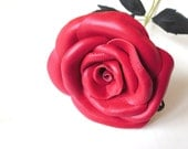 Pink  Flower- Leather Rose, Wedding ,3rd Anniversary Gift, Long Stem Flower, Valentines Day