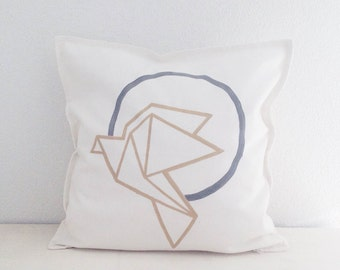 "Minimalist Christmas decor. Origami bird decorative pillow cover. Hand painted cotton. 20"" x 20"""