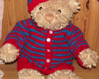 hand knitted Teddy Bear outfit. Cardigan Jacket and hat ( 22inch chest )