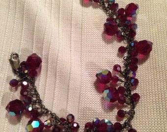 Vintage Ruby Red Swarovski Crystal Bracelet