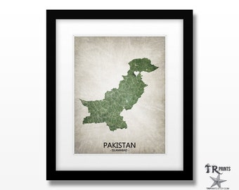 Pakistan Map Art Print - Home Is Where The Heart Is Love Map - Original Custom Map Art Print Available in Multiple Size and Color Options