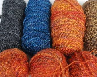 Destash Yarn Bulky Orange,Blue,Brown and Gray