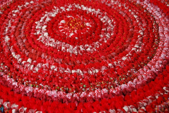 Red multicolor handmade circle rug