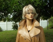 Womans long genuine leather button and belted coat