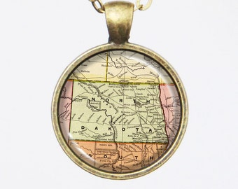North Dakota, Map Necklace- Old Map of North Dakota in 1897, Antique Map Series