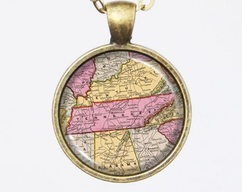 Tennessee Necklace, Vintage Pendant Necklace- Antique Map of Tennessee, Old Map Penant Series
