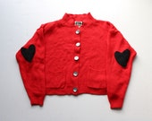 SALE // Vintage Red Cardigan with faux suede heart elbow patches