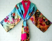 Kimono Turquoise Blue Purple Pink Orange Flowers Rozes floral Summer Beach Copver Up