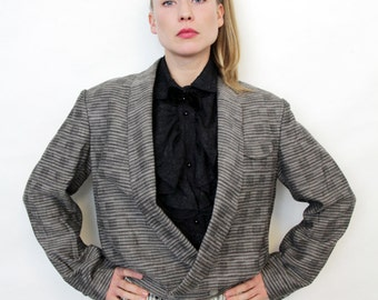 Vintage Grey Oversized Double Breasted Tuxedo Cropped Blazer Jacket