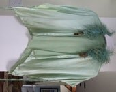 RESERVED-Vintage Seafoam Green Satin bed jacket with Ostrich feathers ala 1920s