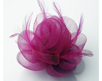 Pink Feather Fascinator on a clip Bridal Fascinator