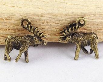 Moose Charms -20pcs Antique Bronze 3D Elk Deer Charm Pendants 15x18mm E208-1