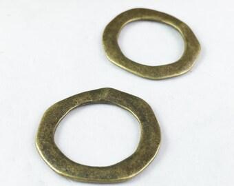 Hammered Rings -10pcs Antique Bronze Ring Charm Pendants 27mm E103-1