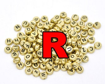 STORE CLOSING DESTASH Letter R acrylic gold colored beads with black lettering 3000 pcs