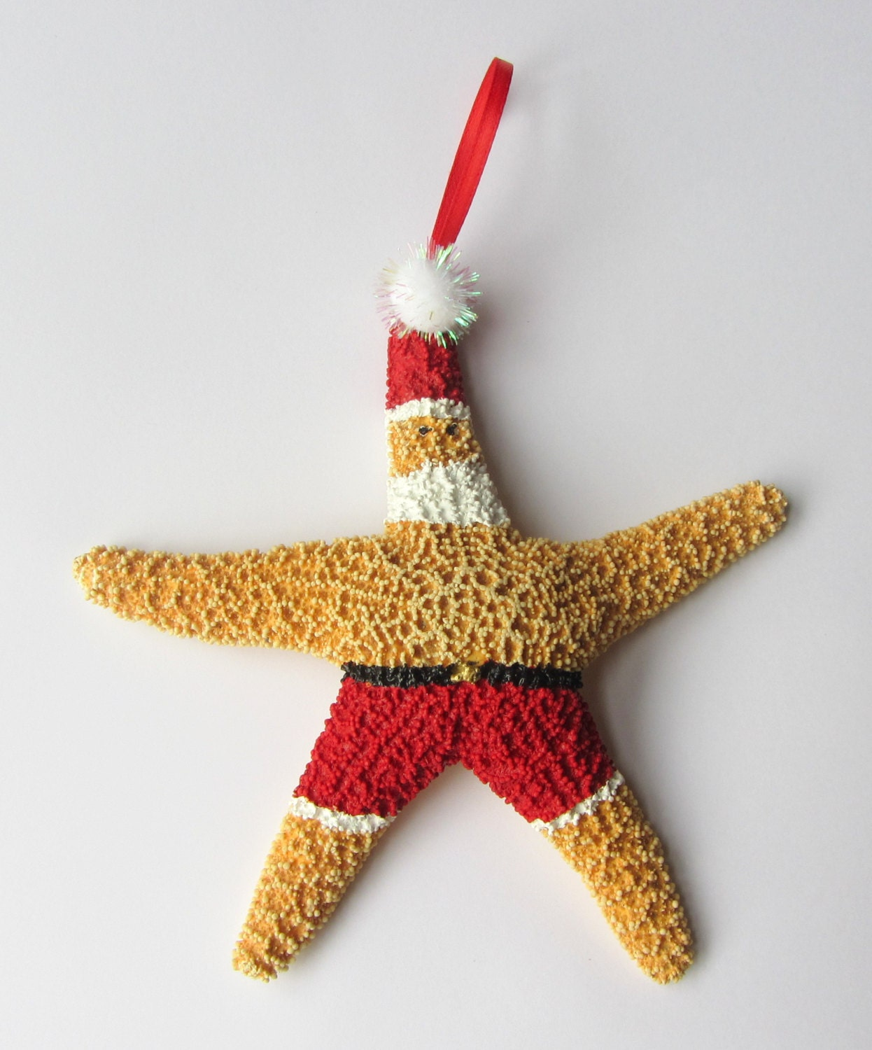 Beach decor starfish christmas ornament beach themed holiday for Holiday christmas ornaments